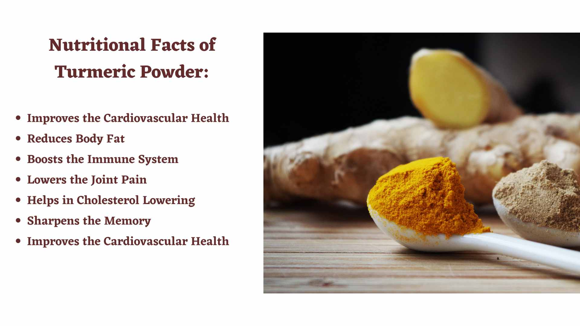 Nutritional Facts of Tumeric Powder